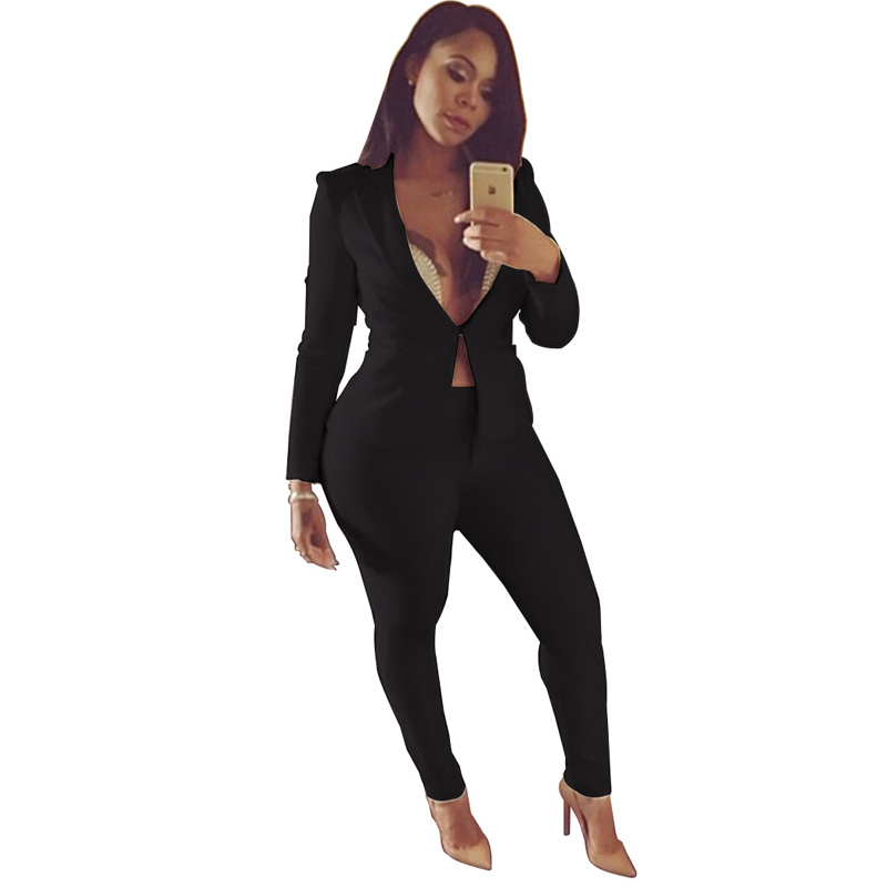 2018 Work Pant Suits OL 2 Piece Set Black White Blue Blazer Jacket & Elastic Waist Trouser Suit For Women Outfit Feminino Spring