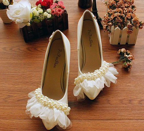 Handmade bridal shoes white thin high 6cm heel pumps wedding shoe sexy point toes female party pumps XNA 035