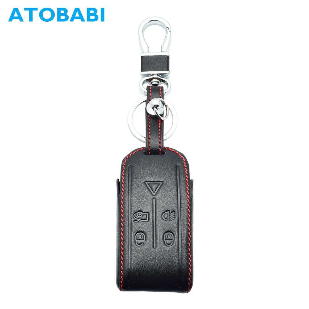 ATOBABI Car Key Case 5 Button Real Leather Smart Remote Fob