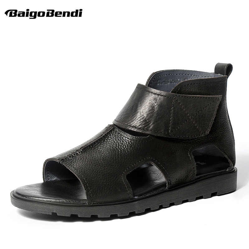 Hight cut Hook Loop Men Sandals Trendy Gladiator Leather Sandals Business Man Retro Summer Casual Shoes