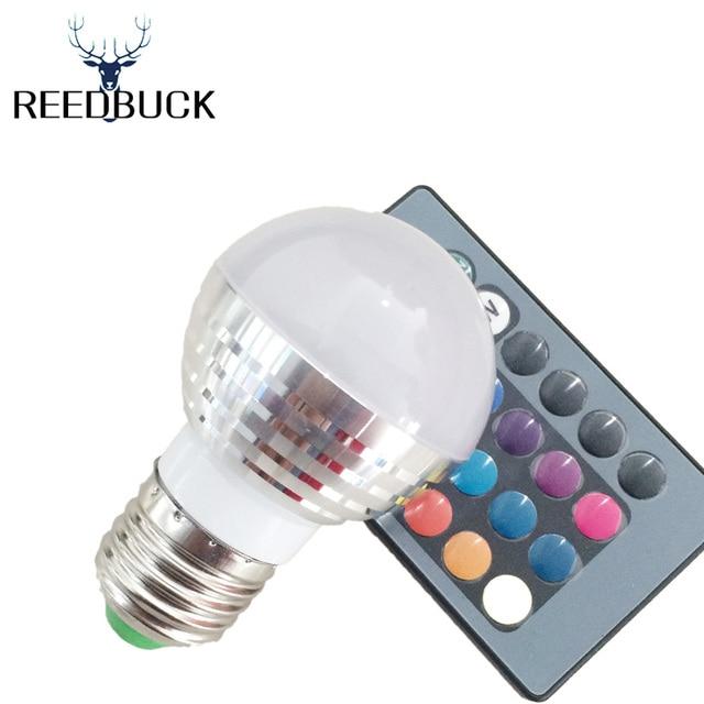 RGB Led lampen Dimmer Licht E14 E27 Lamp AC 220 V 110 V 16 kleuren ...