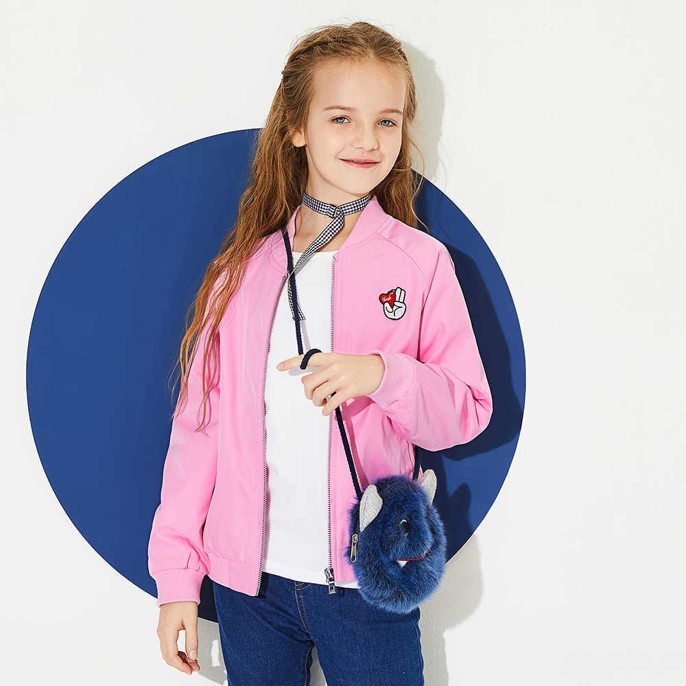 Balabala/бейсбольная куртка с вышивкой для девочек, куртка на молнии с карманом, ребристый Бейсбольный воротник, манжеты и подол для девочек-подростков