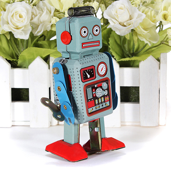 JIMITU Vintage Robot Mechanical Clockwork Wind Up Toys Walking Radar Robots Tin Toy With Key Retro Metal Doll For Children Gifts