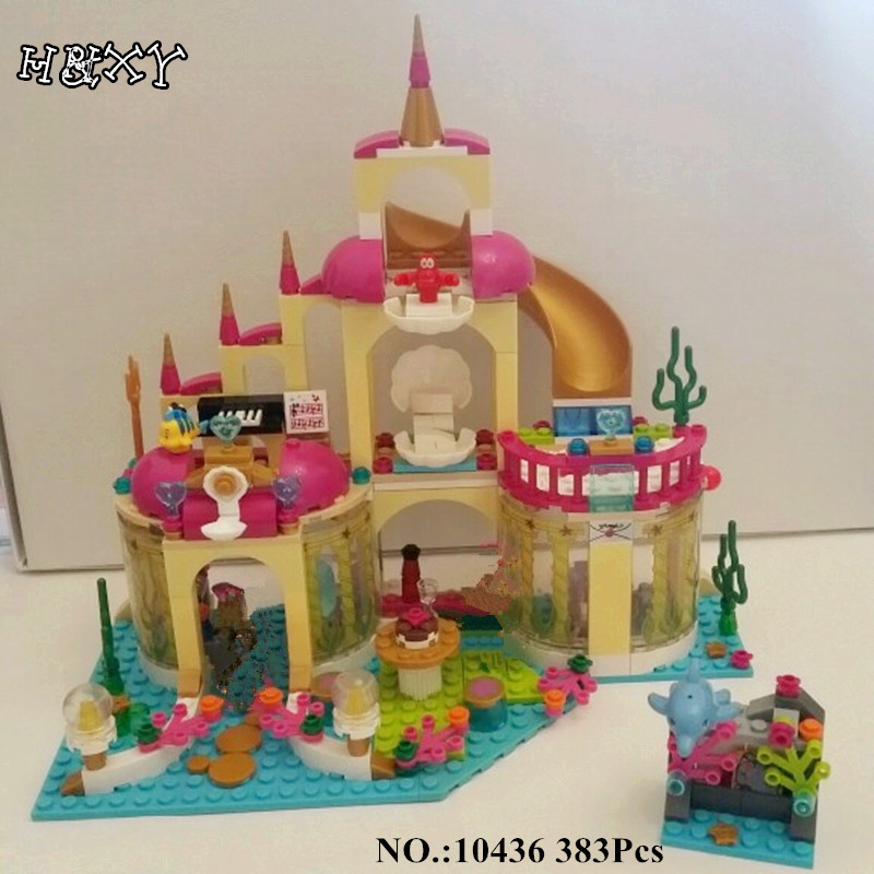 H&HXY IN STOCK 10436 10497 Elsa's Sparkling Ice Castle Anna Olaf Princess Model Building Block Brick For Children Toy Gift in stock h