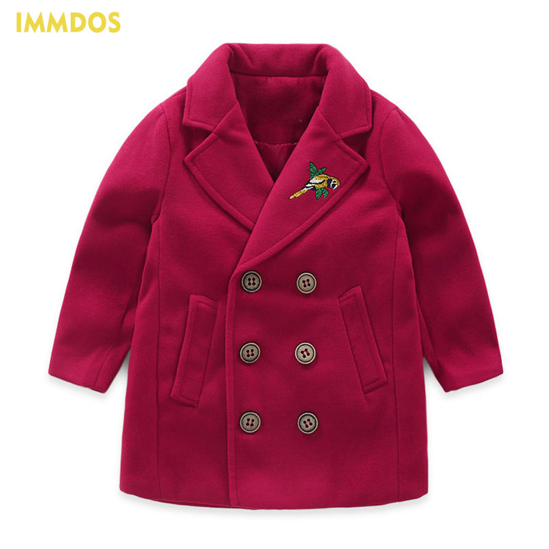 IMMDOS Children Winter Wool Coat For Girl Kids Long Sleeve Warm Outwear 2018 New Year Coat For Boys Fashion Children Clothing immdos winter new arrival down jacket for boy children hooded outwear kids thick coat baby long sleeve pocket fashion clothing page 3