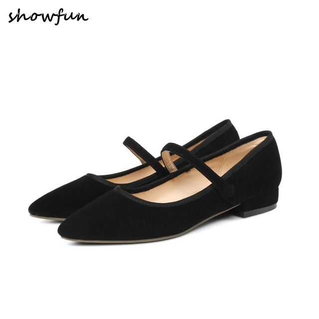 3 Color Women s Genuine Suede Leather Mary Jane Flats Brand Designer  Pointed Toe Lleisure Comfortable Female Footwear Shoes Sale