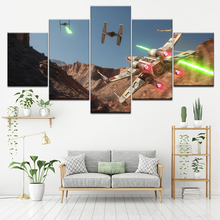 цена на Canvas Painting game Star Wars: X-Wing vs. TIE Fighter 5 Pieces Wall Art Painting Modular Wallpapers Poster Print  Decor