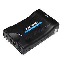 Розничная и оптовая продажа 1080 P SCART-HDMI аудио-видео масштаба конвертер адаптер для HD ТВ DVD для Sky Box СТБ plug и играть с DC кабель