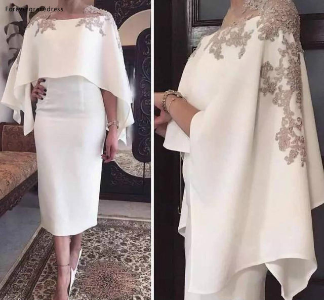 Sheath Mother Of The Bride Dresses with Wraps Lace Appliques Beaded Tea Length Party Elegant Evening Gowns Plus Size ba9848  109