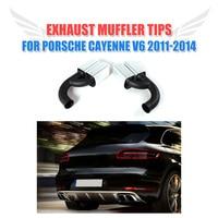 2 Pz/set Stainless Steel Auto tubo di Scarico Auto Punte Lunghe Piazza End Silenziatore Misura per Porsche Cayenne V6 2011-2014