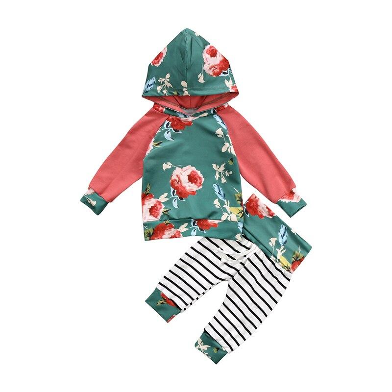 2 шт. для маленьких девочек цветочный комплект одежды Симпатичные новорожденных Для маленьких мальчиков с капюшоном для девочек Топ пулове...