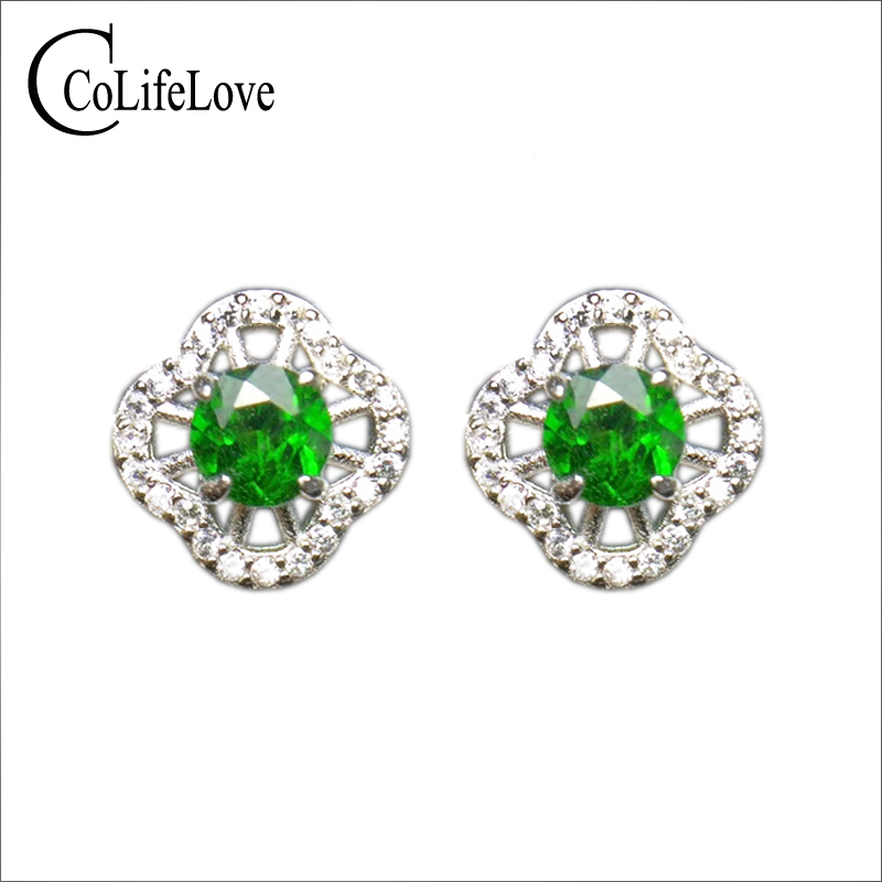 Fashion 925 silver stud earrings for party 5 mm VS grade natural chrome diopside earrings 925 silver diopside stud earringsFashion 925 silver stud earrings for party 5 mm VS grade natural chrome diopside earrings 925 silver diopside stud earrings