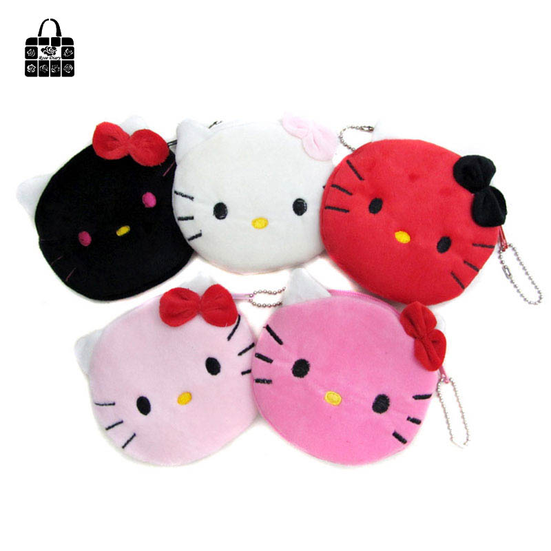 Women plush cartoon cat head zero Coin Purse canvas Clutch Wristlet lady Wallet Girls Change Pocket Pouch Hasp Bag Keys Case стоимость