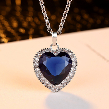 Dovolov Titanic Heart of the Ocean Necklaces for Women Blue Romantic CZ Chain Pendant Necklaces Fashion Wedding Jewelry D3 2