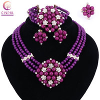 New Year Gift Beads Choker Classic Yellow Purple Pearl Roses Nigerian African Beads Jewelry Set Wedding