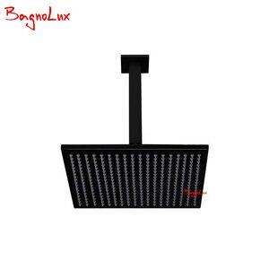 Image 3 - Bagnolux высококачественный латунный черный смеситель для ванной комнаты 8 дюймов с дождевой насадкой, потолочный душевой рычаг, переключатель, смеситель, ручной спрей