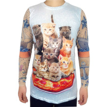 Cute Pizza Cat Printed Christmas T Shirt for Men Kawaii Long Sleeve Tattoo Shirts Funny Boys Xmas Tee Plus Size