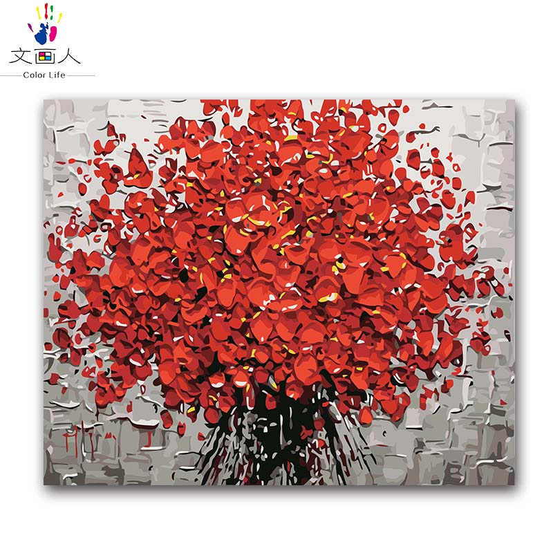 plant red flowers oil painting package diy pictures coloring draw by numbers with kits for adult kid paint living bedroom decor in Paint By Number from Home Garden