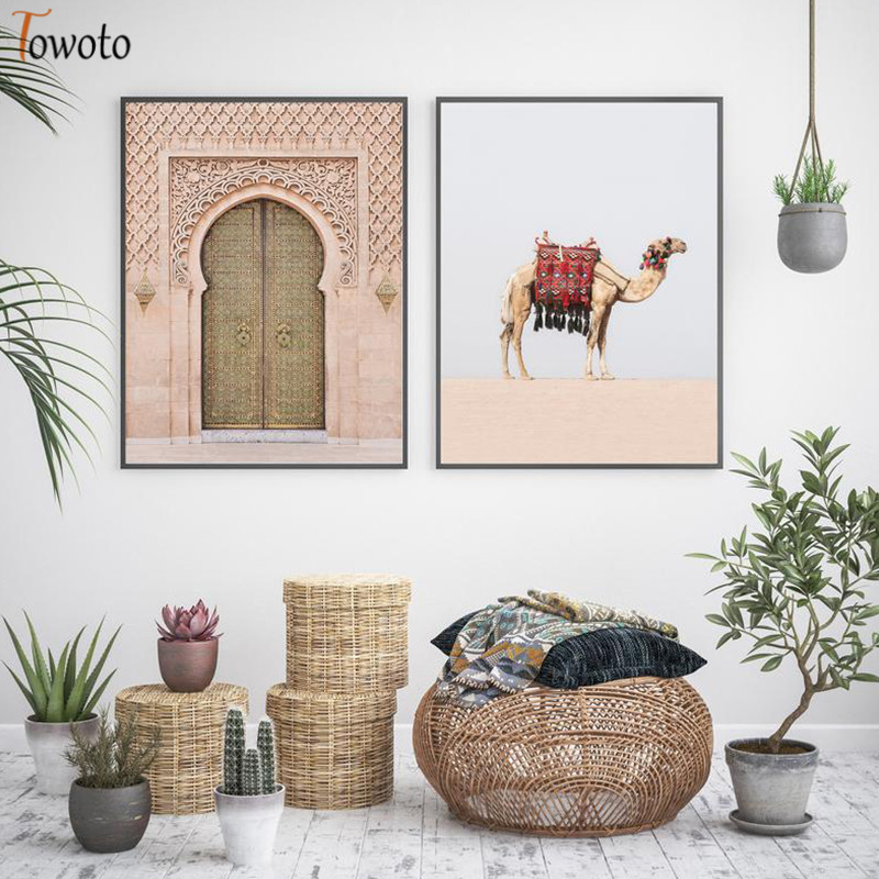 Boho Poster Desert Landscape Canvas Painting Door Camel Print Decoration Wall Pictures for Living Room Moroccan Decor Unframed in Painting Calligraphy from Home Garden
