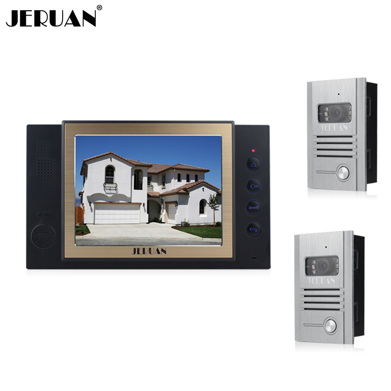 JERUAN 8 inch video door phone doorbell intercom system with video recording photo taking metal shell outdoor jeruan home security system 2 outdoor 1 indoor with recording photo taking 8 inch video door phone doorbell intercom system
