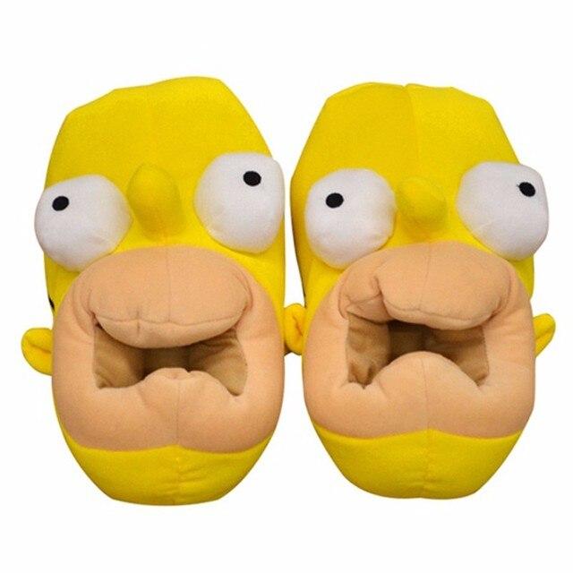 """Горячая 1 Pair 11 """"28 см Аниме Симпсоны Плюшевые Тапочки Peluche Обувь Каваи Теплая Зима Крытый Взрослых Тапочки большой Подарок"""