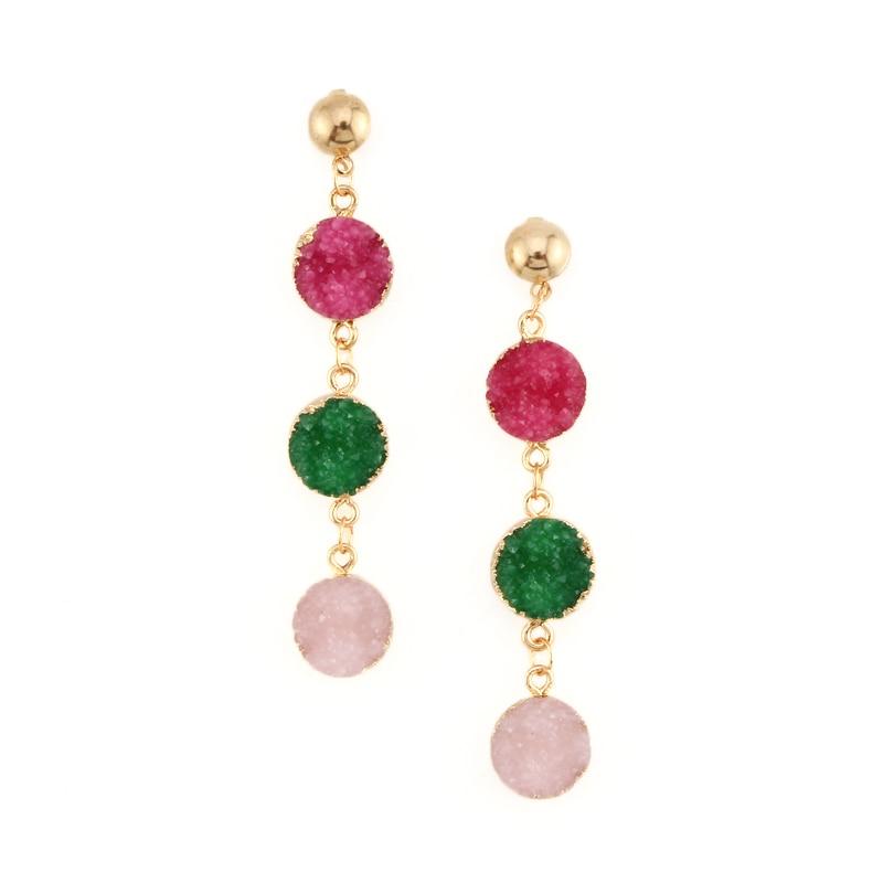 1pair Bohemia Three Rounds Pendant Dangle Earings Quartz Color Resin Stone Druzy Earrings For Women Jewelry Long Earings E200