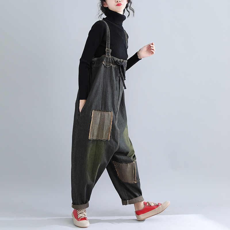 Винтажный цветочный лоскутное одеяло, комбинезон, повседневный Свободный комбинезон-шаровары для женщин, джинсовый комбинезон без рукавов