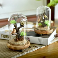 Pastoral Style Resin Cute Birds Tree With Glass Cover Decoration Office Desktop Mini Animal Crafts Miniatures