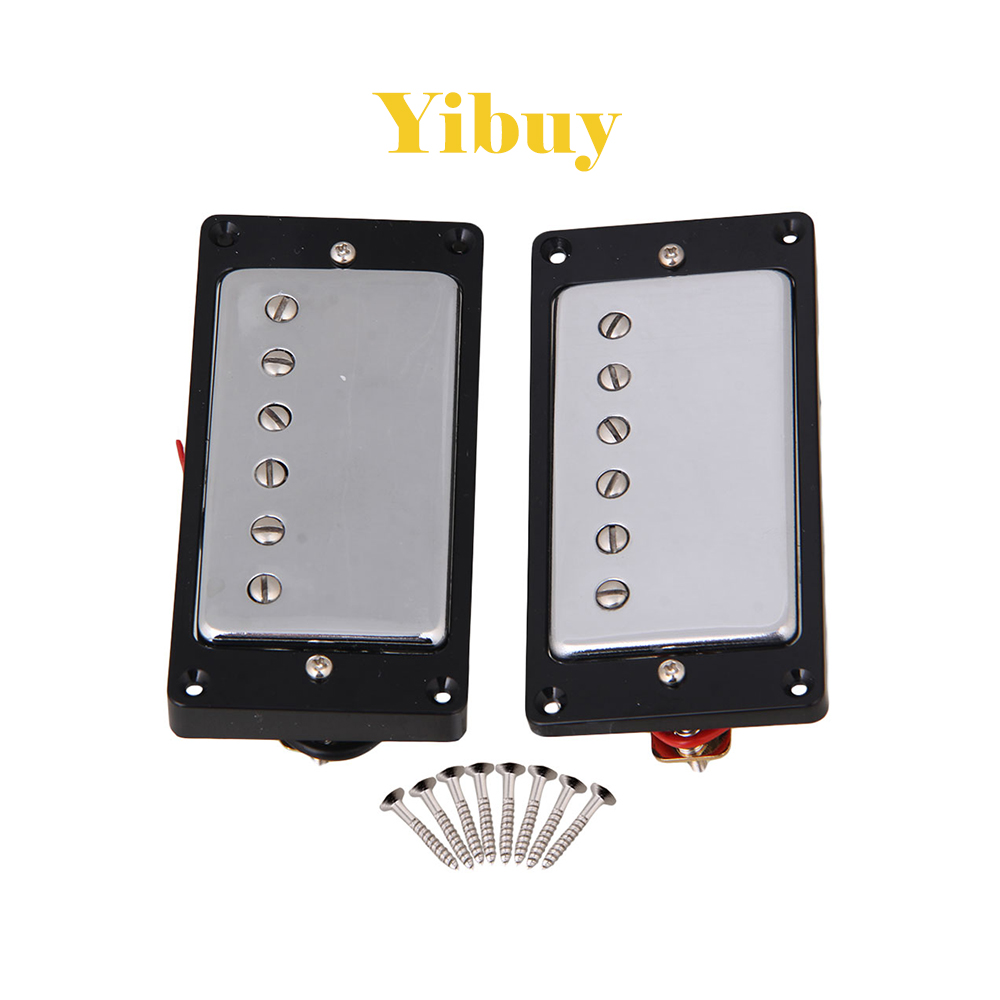 Yibuy Chrome Plated Humbucker pickups For Electric Guitar Parts Set homeland guitar pickup humbucker gold chrome black double coil pickups accessories bridge neck set for electric guitar pickups