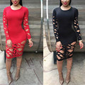 2017 new Spring summer Black Red Long Sleeves Holes Bandage Dress Sexy Bodycon Women hollow out Evening Party dress club wear