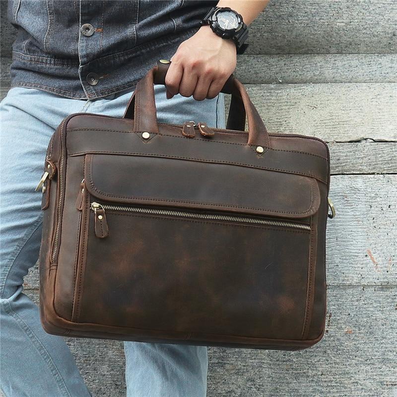 Nesitu Brown Crazy Horse Genuine Leather Men Briefcase Messenger Bags Portfolio 15.6'' 14'' Laptop Business Travel Bag M7388