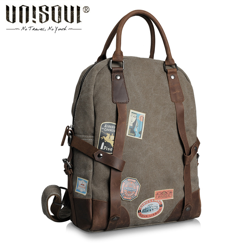 ФОТО UNISOUL Travel backpack bag 2016 New Designed Men's Backpacks Laptop computer Canvas Bags Men Backpack Vintage School Rucksack