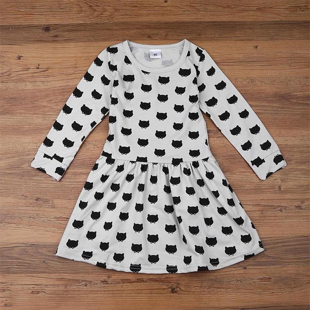 TANGUOANT Girl dress cotton long sleeve black stamp elastic pleated Zou comfortable dress stitching girl dress Cartoon cat dress