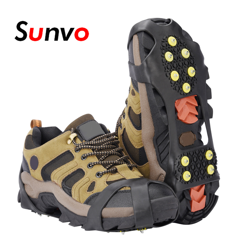 Sunvo Ice Spike Crampons for Shoes Anti Slip Outdoor Climbing Hunting Hiking Snow Spikes Cleats Chain Claws Grips Ice Gripper 4pcs cnc lathe turning tool holder 6 7 8 10mm sclcr06 boring bar 10pcs ccmt060204 carbide inserts durable blades 4pcs wrench