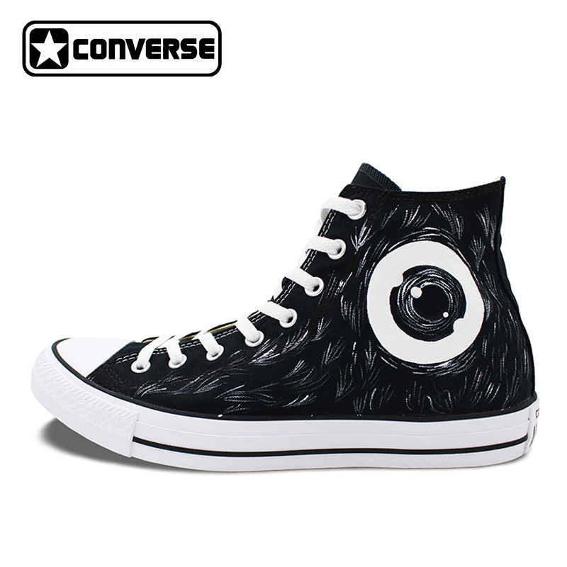 Black Converse Chuck Taylor Canvas Shoes Men Women Mamafaka Design Hand Painted High Top Sneakers Birthday Gift converse chuck taylor women men shoes anime tokyo ghouls custom design hand painted shoes high top white sneakers cosplay gifts