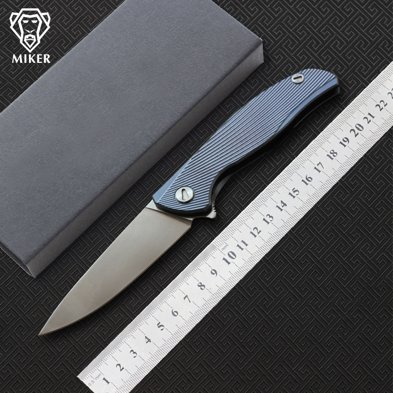 MIKER F95 Icebreaker Folding Knife D2 Blade Titanium Handle Pocket Survival Knife Outdoor Camping Hunting Knives