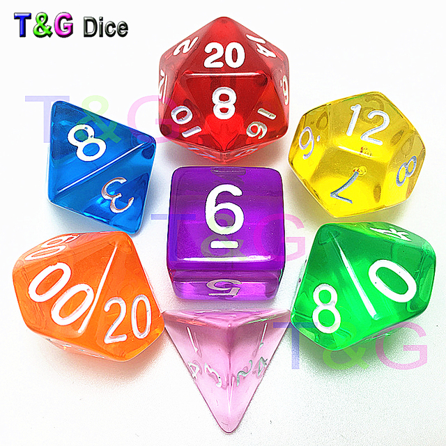7pc lot Assorted Colorful Glitter Opaque Marble TransparentPolyhedral Dice  Set of D4-D20 for Dnd RPG Board Game c302fa4c7662