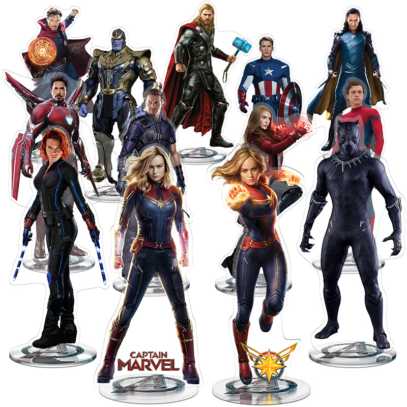 21cm Marvel Avengers Endgame Captain Marvel Groot Spider Man Iron Man Black Panther Deadpool Captain America Thor Hulk Thanos  Hawkeye Acrylic Display Board Action Figure Collection Model Toys For Kids Christmas Gifts