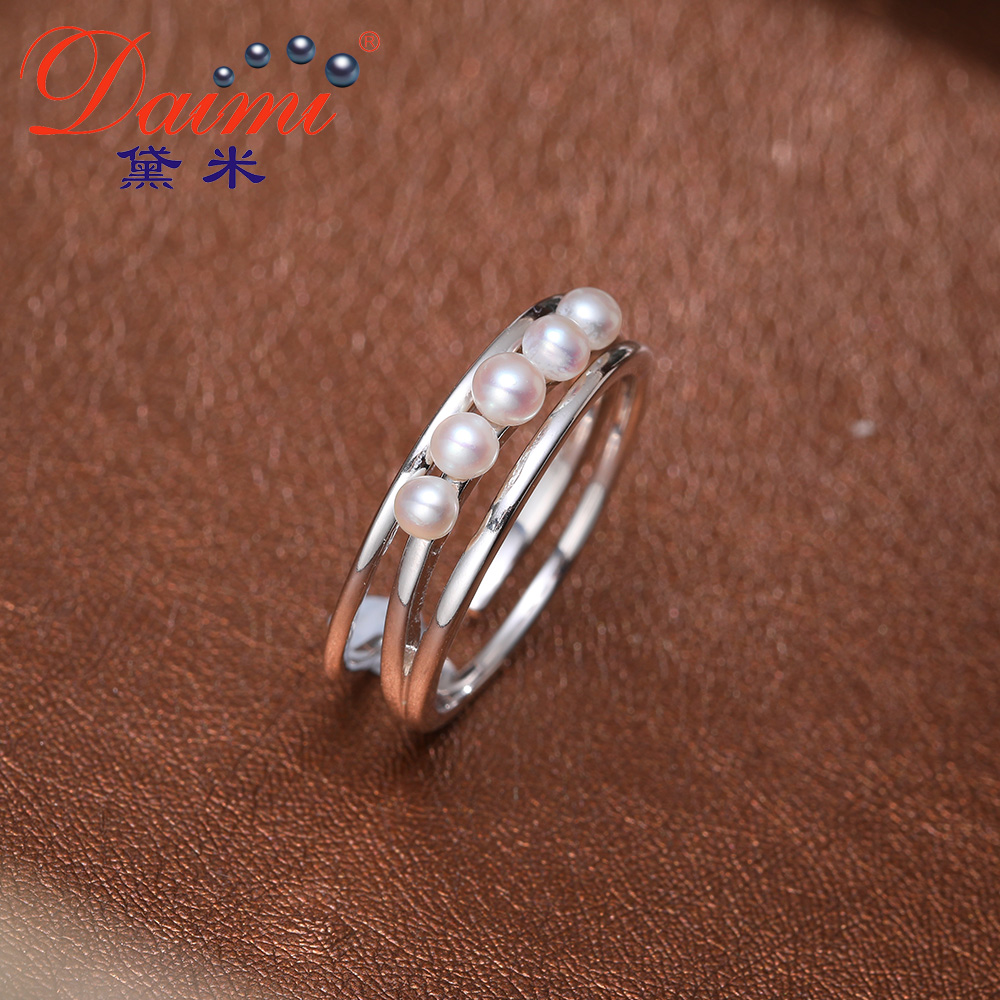 DAIMI 925 Silver Pearl Ring Double Ring Design Freshwater Pearl Five Pearl Rings faux pearl asymmetrical ring