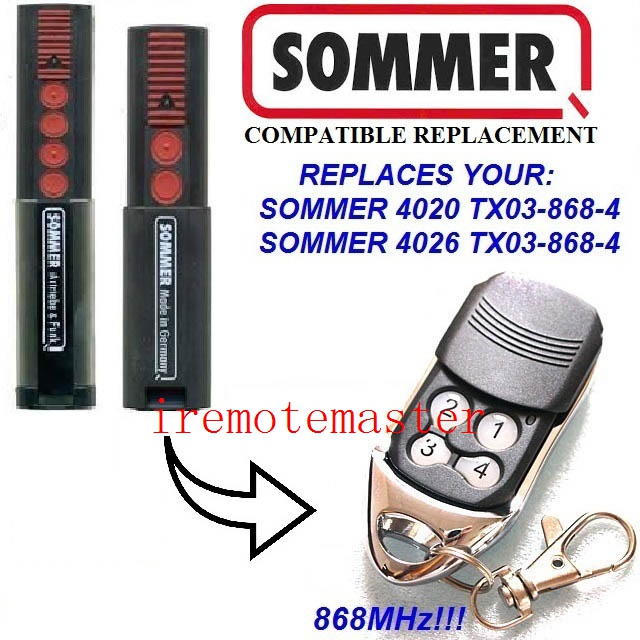 Sommer 4020 4026 remote control replacement 868MHZ free shipping twindoor replacement remote control 433mhz free shipping