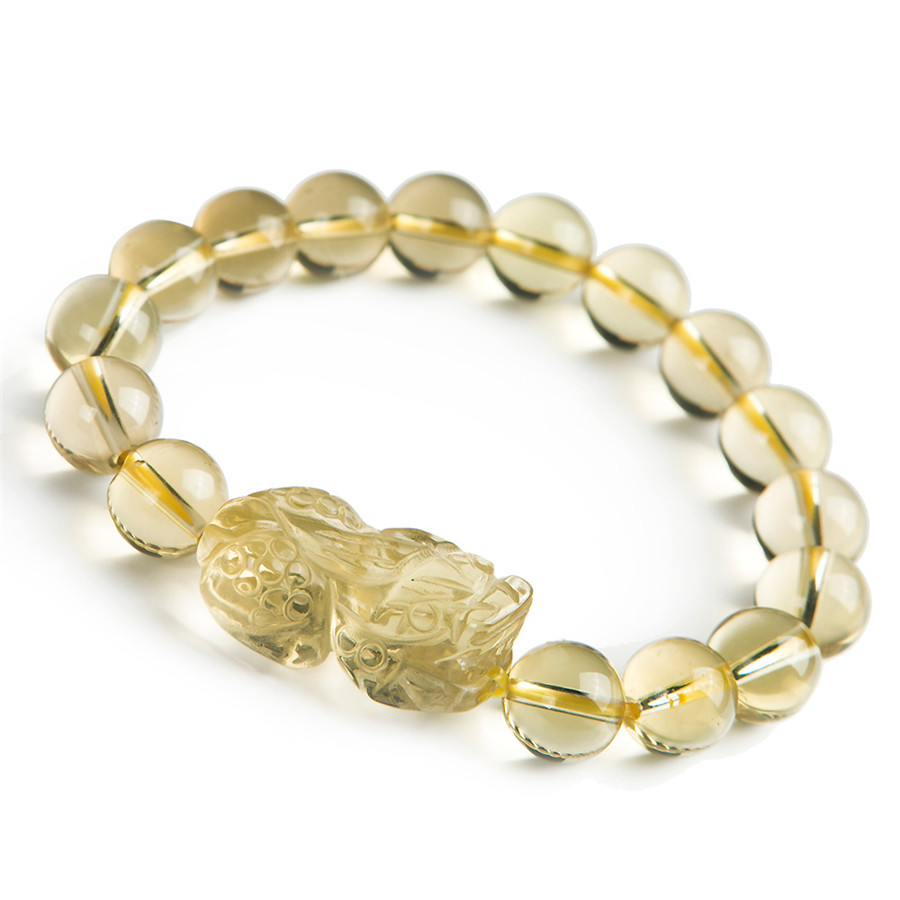 Genuine Yellow Natural Quartz Crystal Bracelets For Women Mens PiXiu Transparent Charm Stretch Round Bead Bracelet buy mens string bracelets
