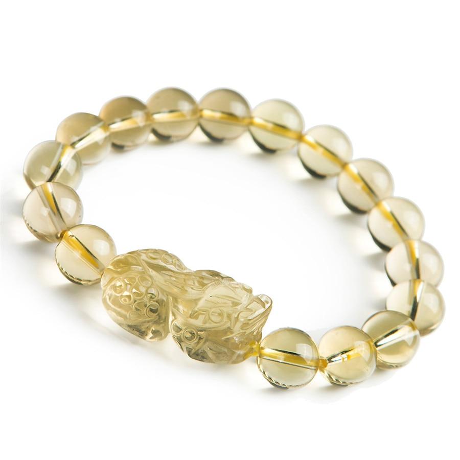 Genuine Yellow Natural Quartz Crystal Bracelets For Women Mens PiXiu Transparent Charm Stretch Round Bead Bracelet 5 8mm strawberry quartz crystal bracelet rose wrap bracelets for women bracelets for girls birthday