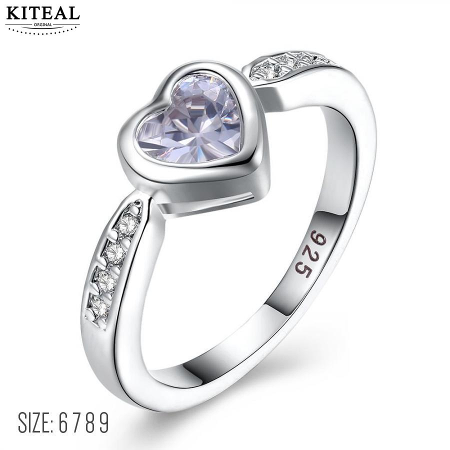 White gold color high quality Rhinestone Heart ring for male&female others day gifts for mom love 6 7 8 9