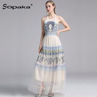 2018 Summer Sleeveless White Mesh Floral Embroidery Party Dress High Quality Backless Sexy Designer Maxi Women