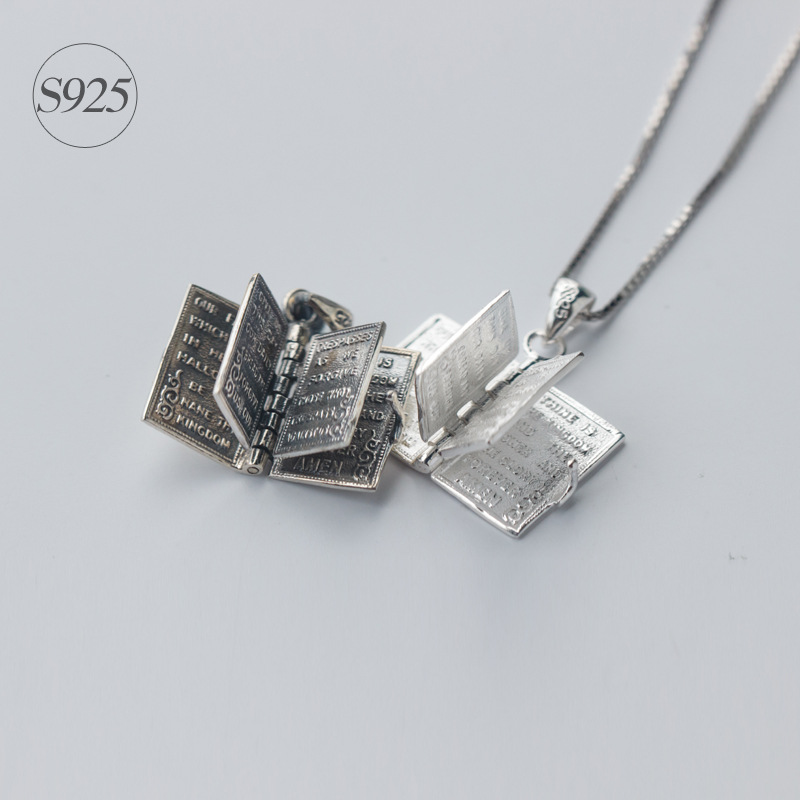 1pc 925 Sterling Silver Holly Bible Necklaces & Pendants | Book Page Charms Power Necklace Christian Gifts Religious  X467