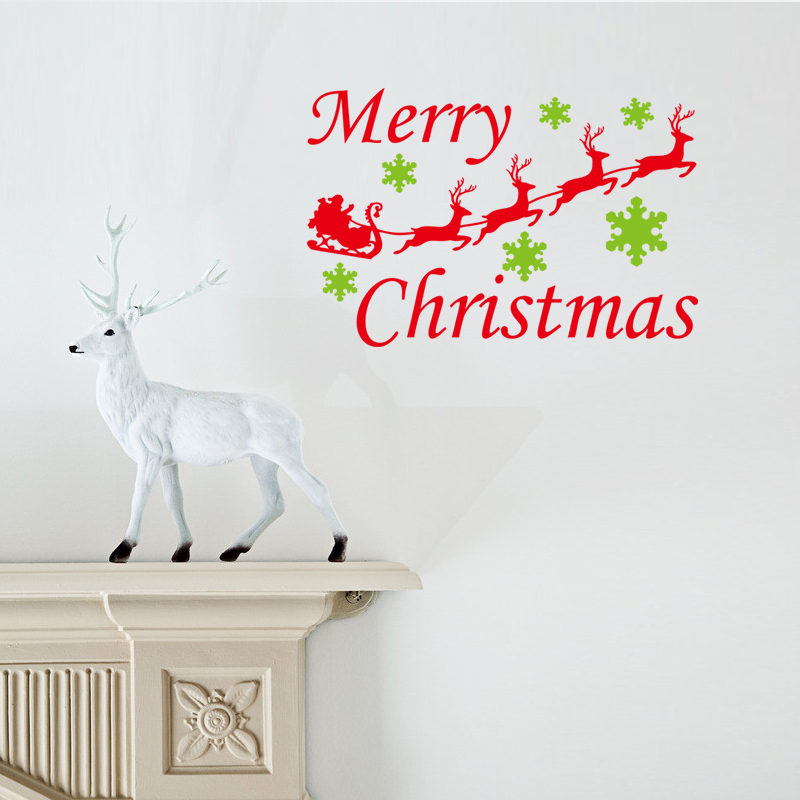2015 vinyl merry christmas wall stickers home decoration reindeer