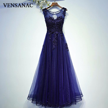 VENSANAC 2018 A Line Beading O Neck Lace Appliques Long Evening Dresses Elegant Party Crystal Backless Prom Gowns