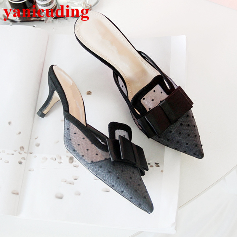 Pointed Toe Bow Tie Lace Women Pumps Summer Outdoor Indoor Slipper High Heel Sexy Shoes Sapato Feminino Chic Superstar Shoes pointed toe butterfly knot decor women pumps high heel sapato feminino chic brand runway star shoes bow tie women zapatos mujer