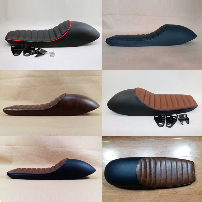 Modified General Motorcycle Cushion Cafe Racer Retro seat 6 colors available modified motorcycle brat flat seat retro cafe racer seat locomotive refit motorcycle saddle with seat hoops lights