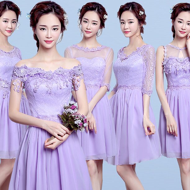 a334aa410a Baratos chicas lavanda lila scoop neck peplum dama de honor corto vestidos  de fiesta 2017 para